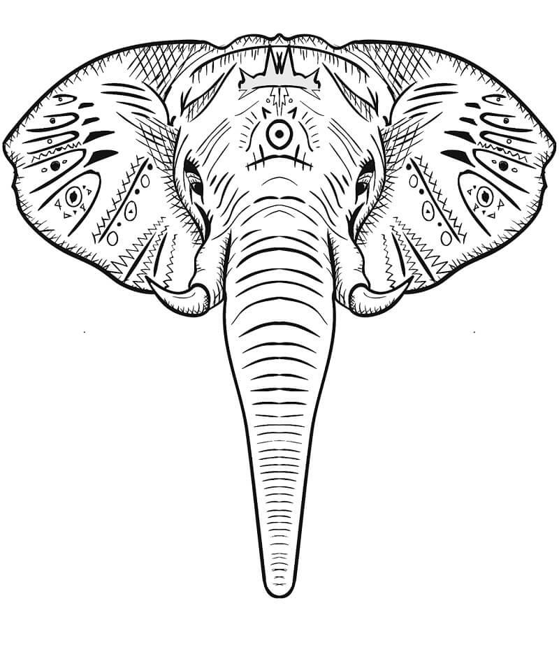 Раскраска слон 2