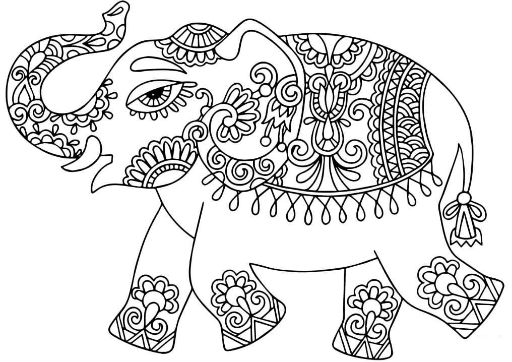 Раскраска Слон в индийских узорах