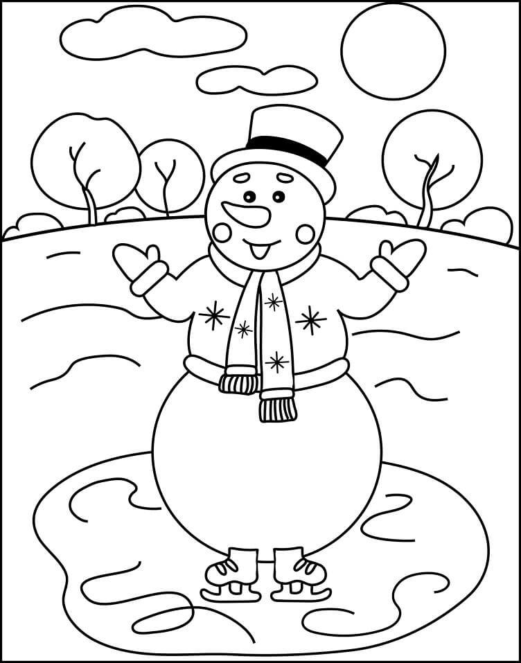 Раскраска Снеговик 4