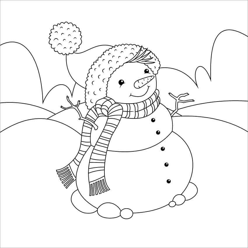 Раскраска Снеговик 5