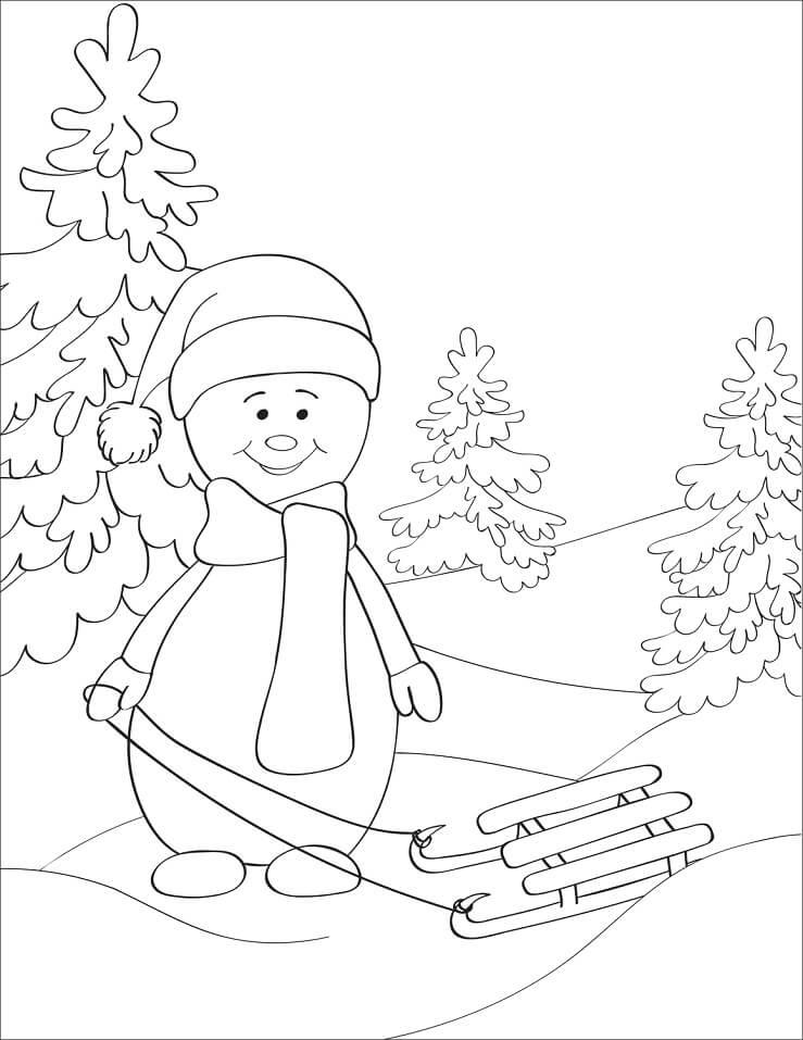 Раскраска Снеговик 6