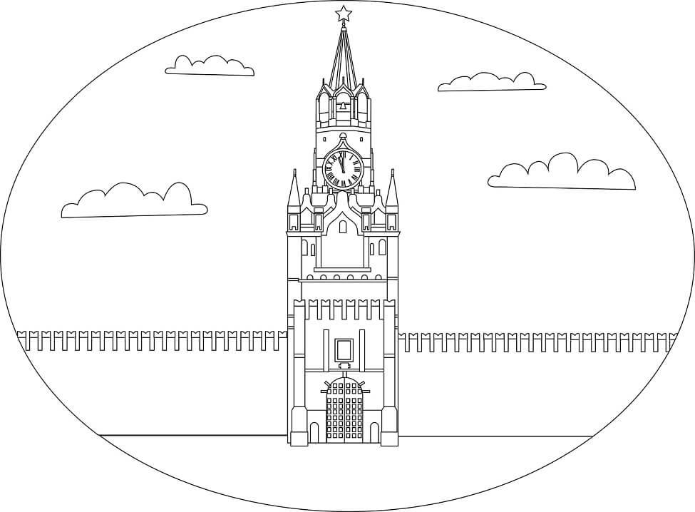 Раскраска Спасская Башня