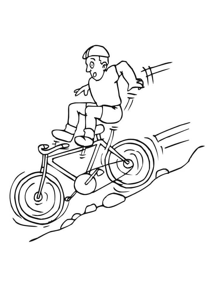 Раскраска Спуск с горы на велосипеде