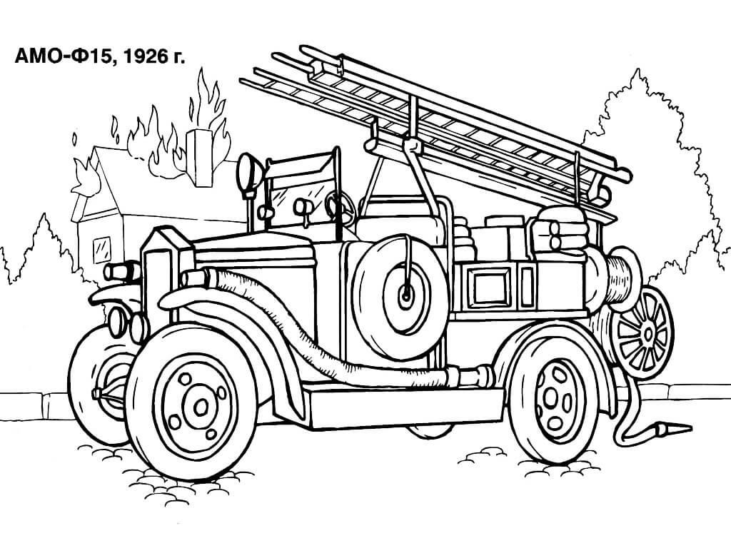 Раскраска старая пожарная машина 1