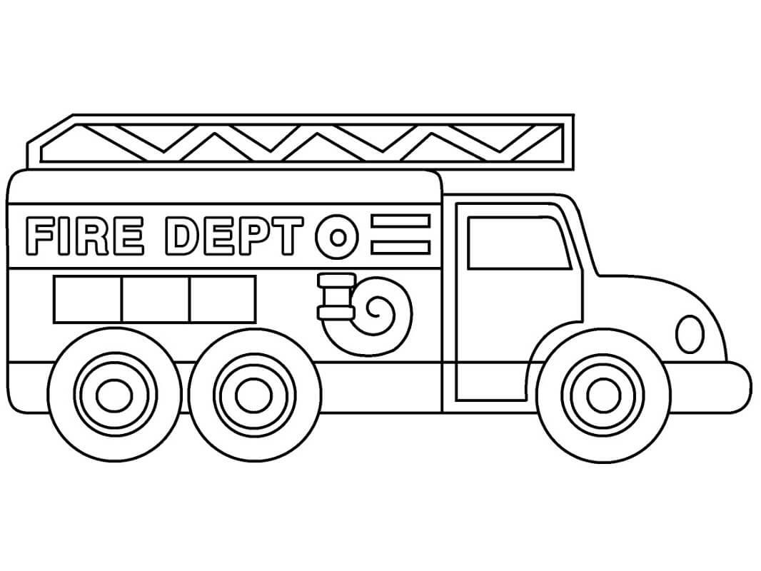 Раскраска старая пожарная машина 2