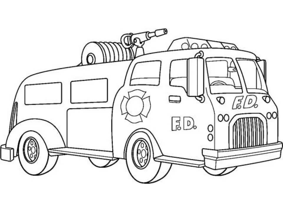 Раскраска старая пожарная машина
