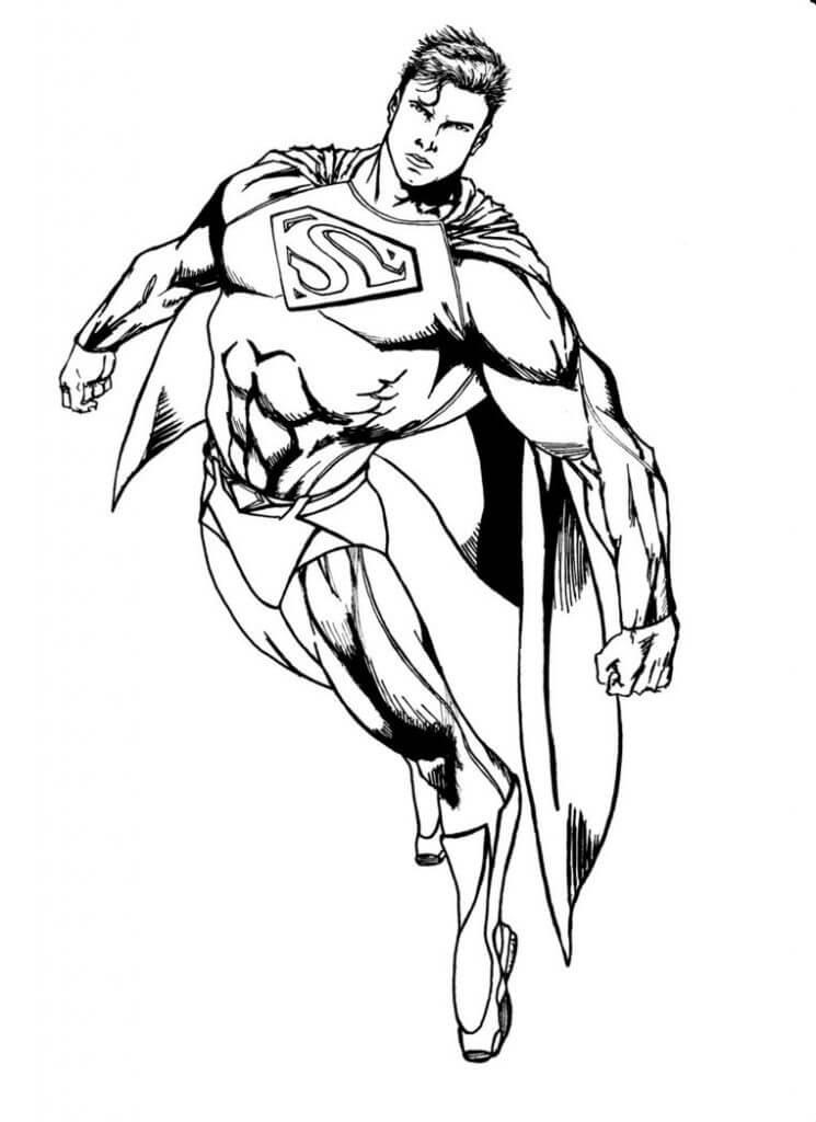 Раскраска супермен летающий  2