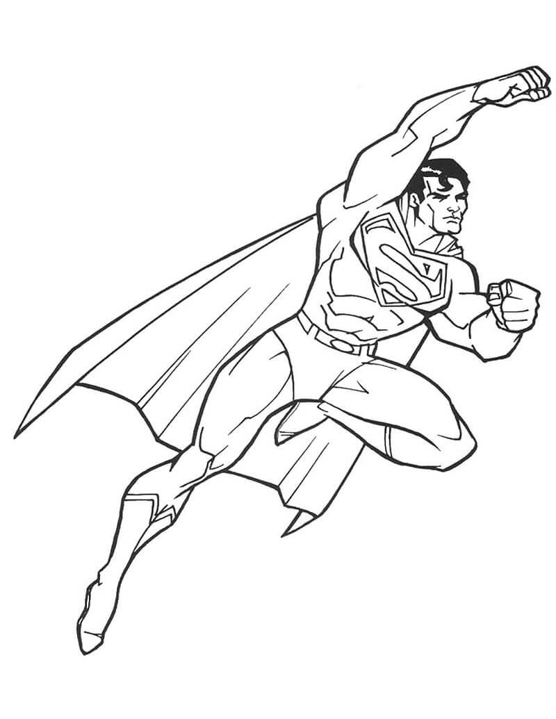 Раскраска супермен летающий 5