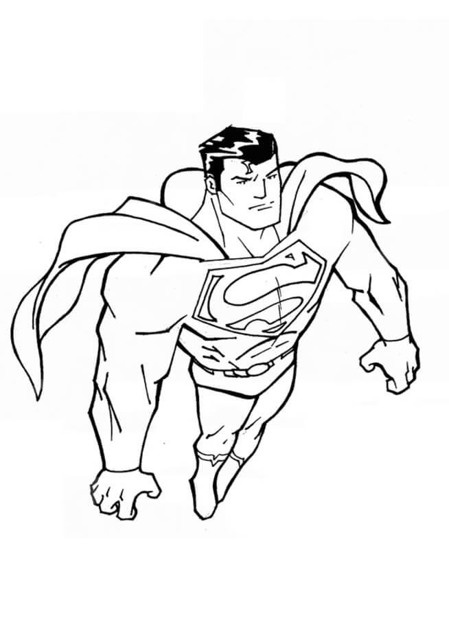 Раскраска супермен летающий  6