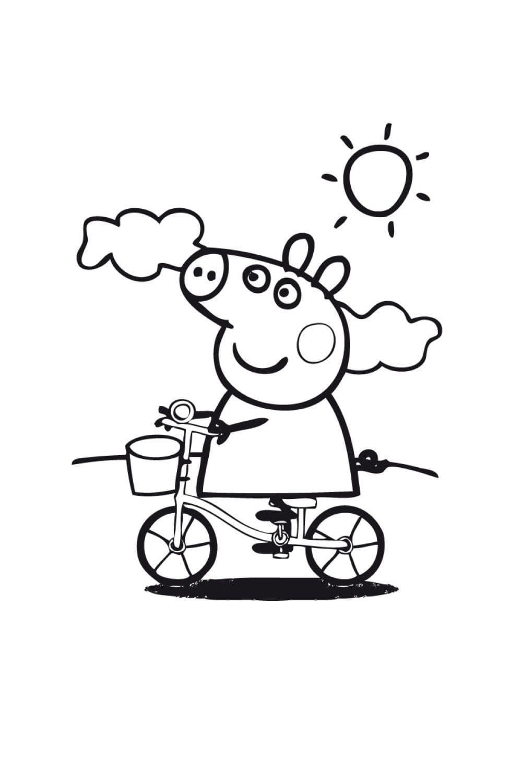 Раскраска Свинка Пеппа на велосипеде