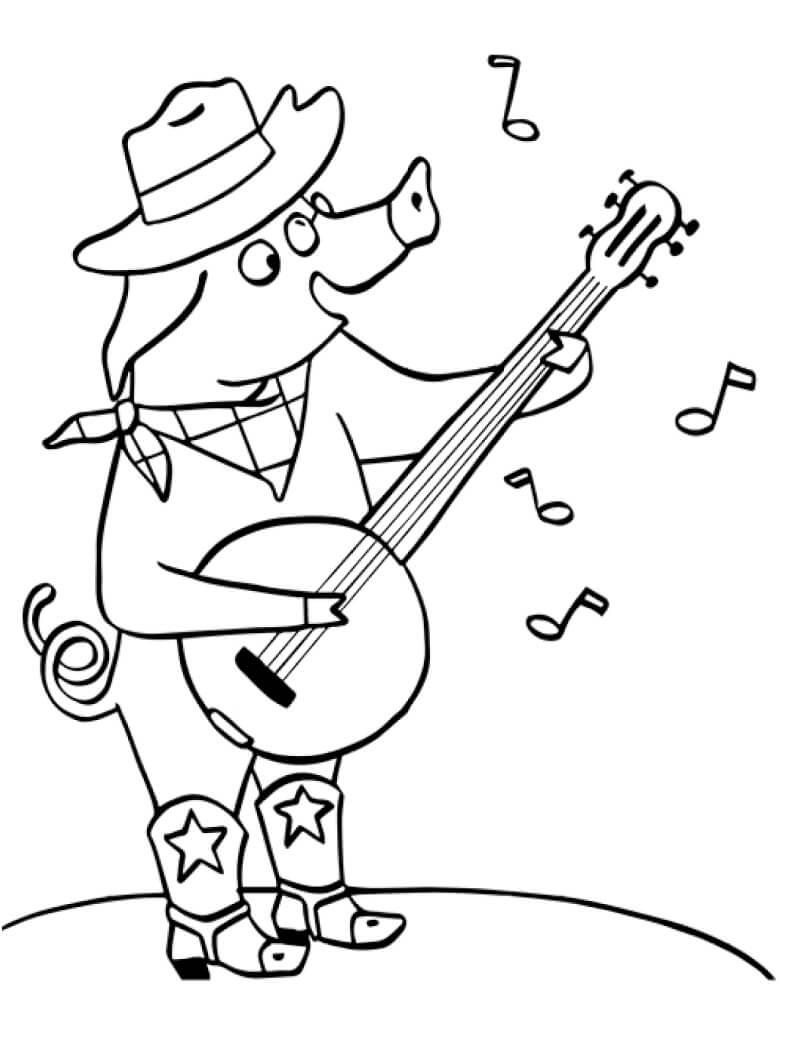 Раскраска свинья играет на банджо