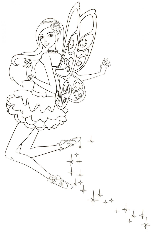 Раскраска Танец феи Барби