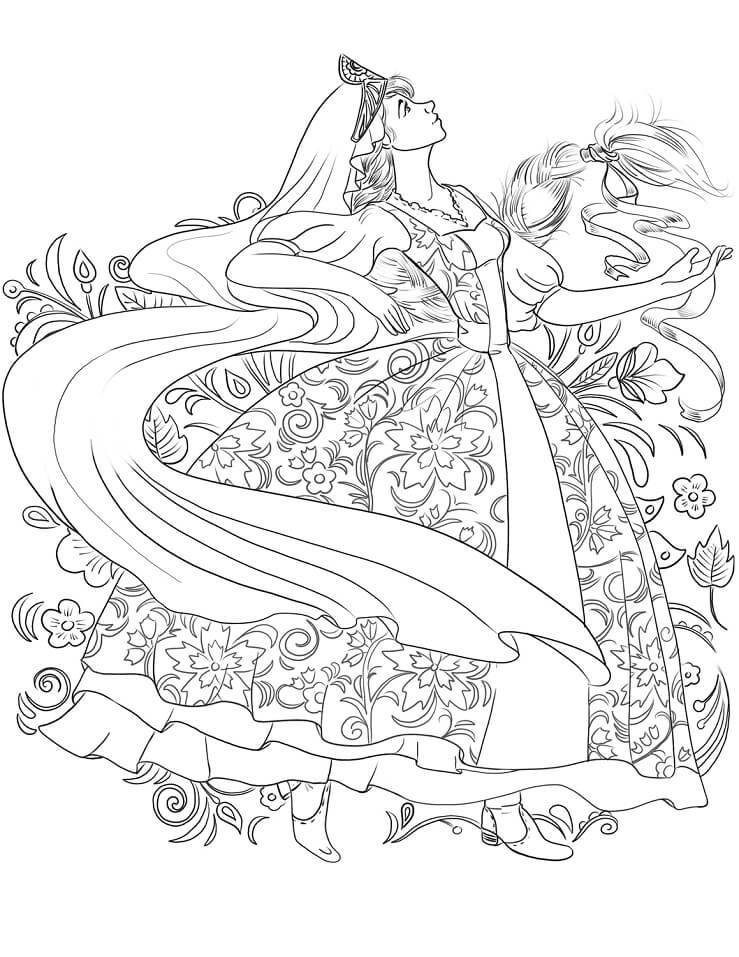 Раскраска Танец россиянки в традиционном платье