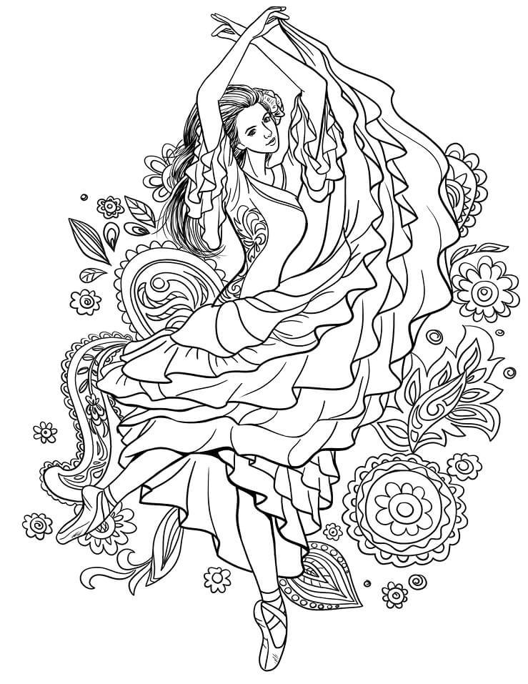 Раскраска Танец цыганки Кармен