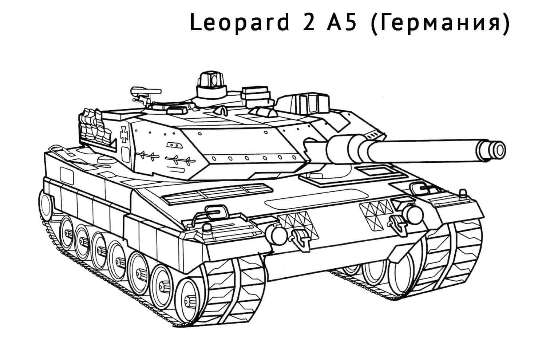 Раскраска Танк Leopard 2 A5