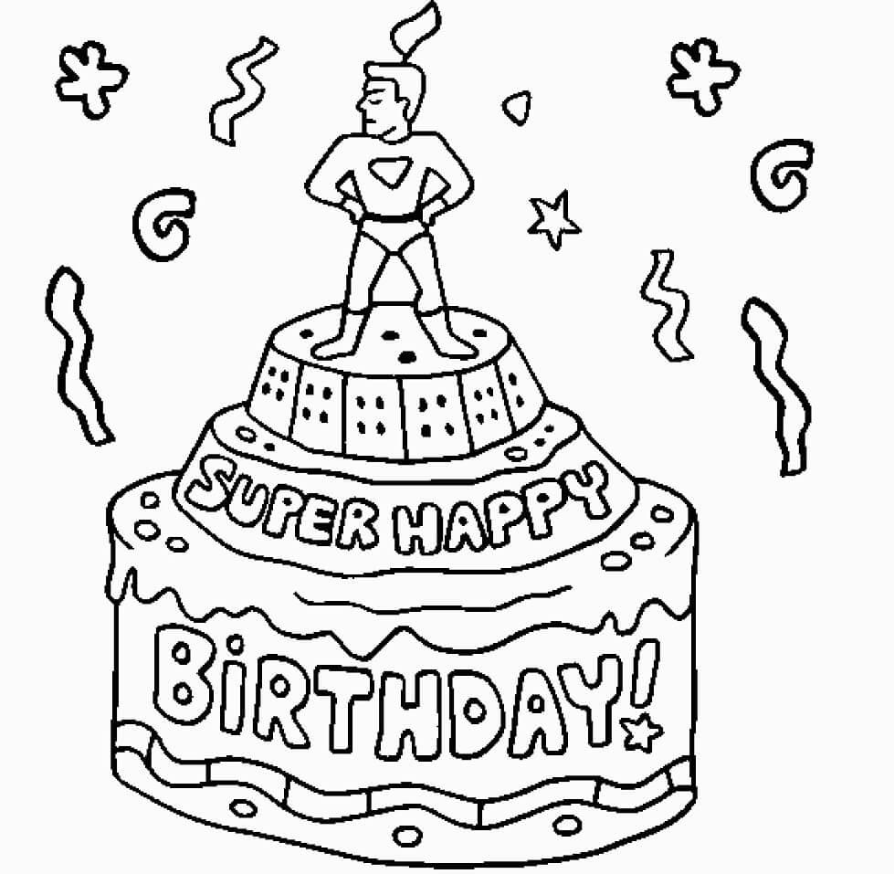 Раскраска Торт ко дня рождения 1