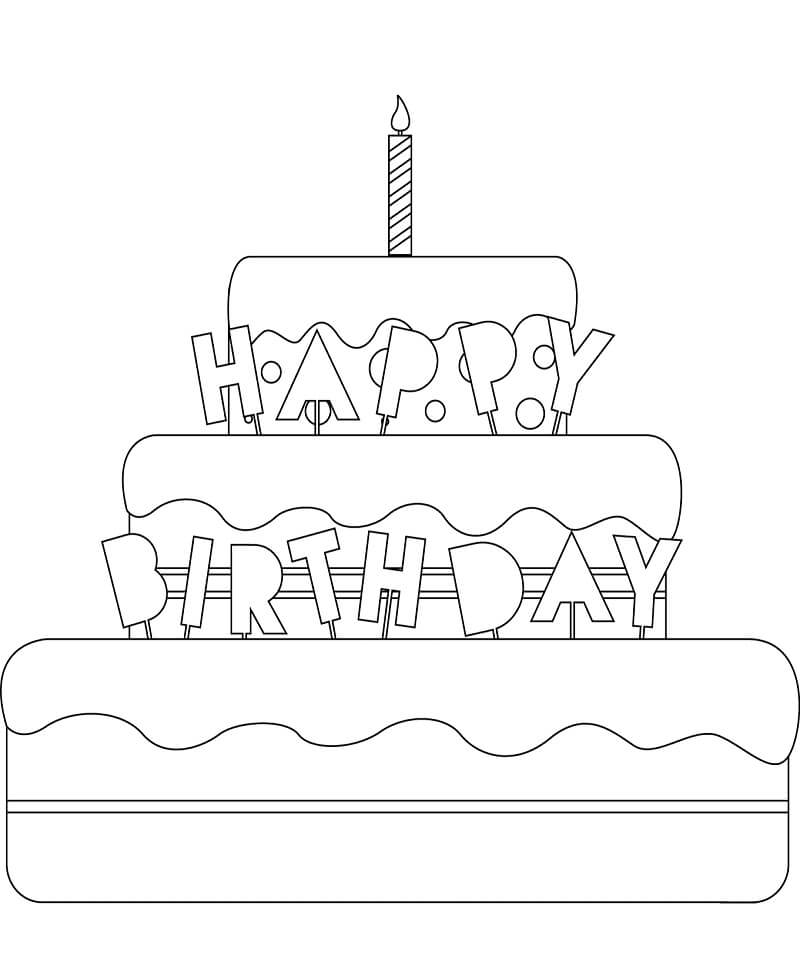 Раскраска Торт ко дня рождения 2