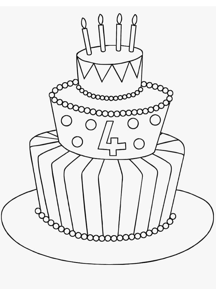 Раскраска Торт ко дня рождения 3
