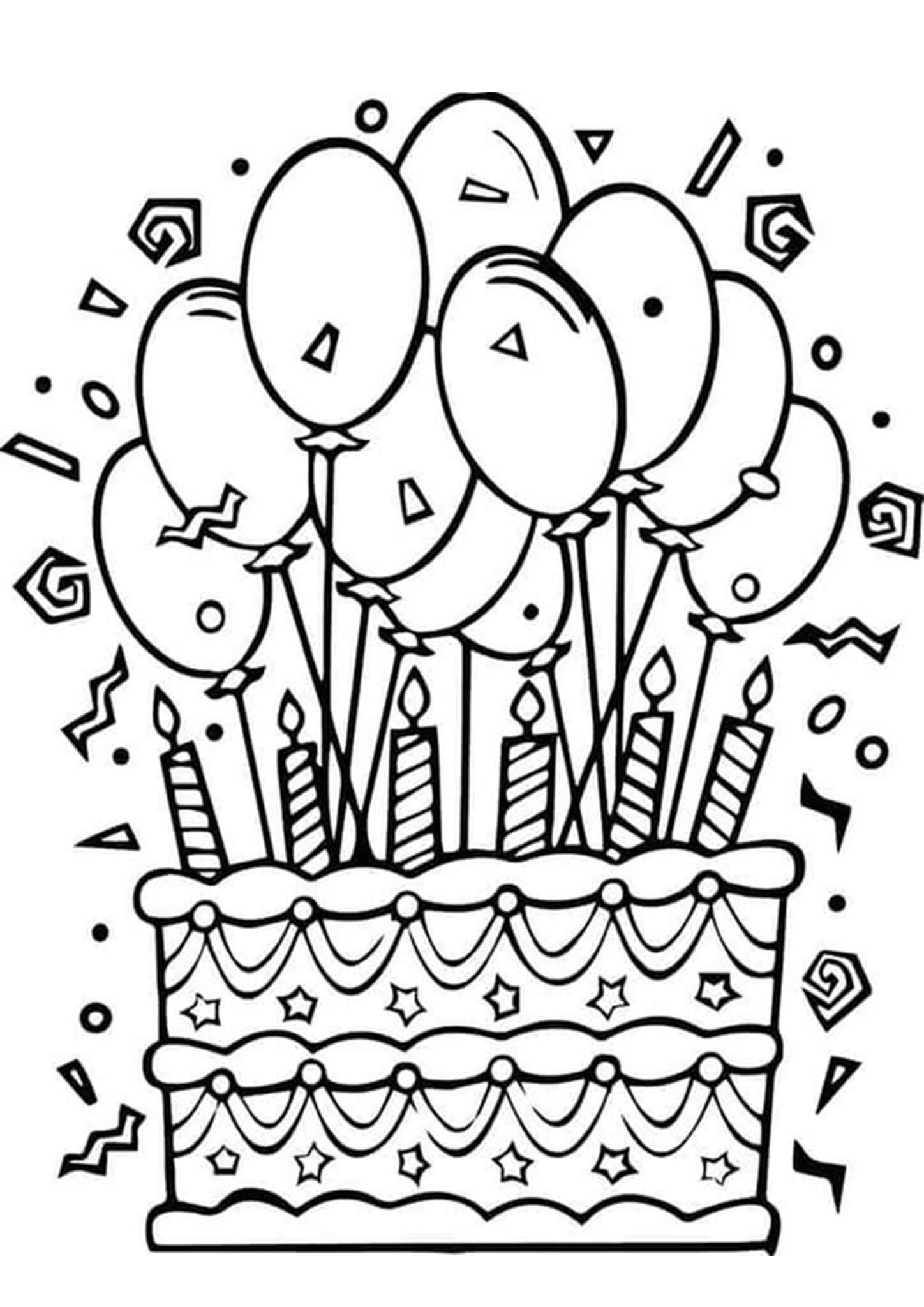 Раскраска Торт ко дня рождения 5