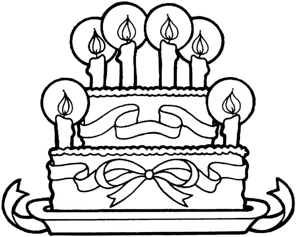 Раскраска Торт ко дня рождения