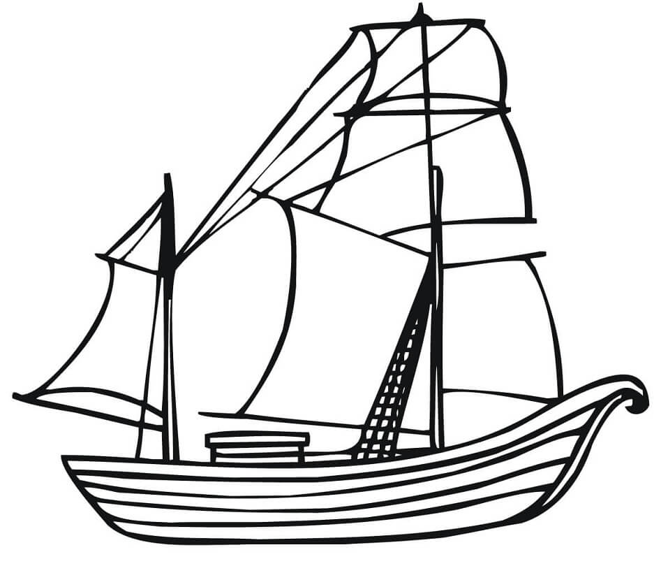 Раскраска Традиционная норвежская лодка