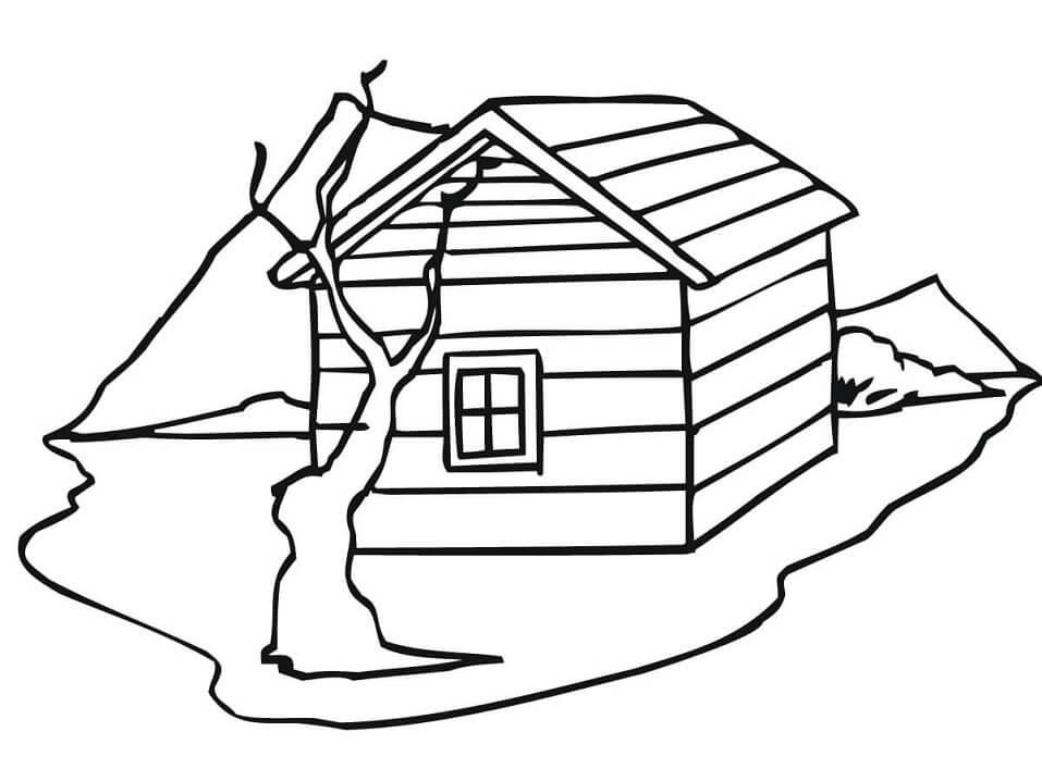Раскраска Традиционный норвежский дом