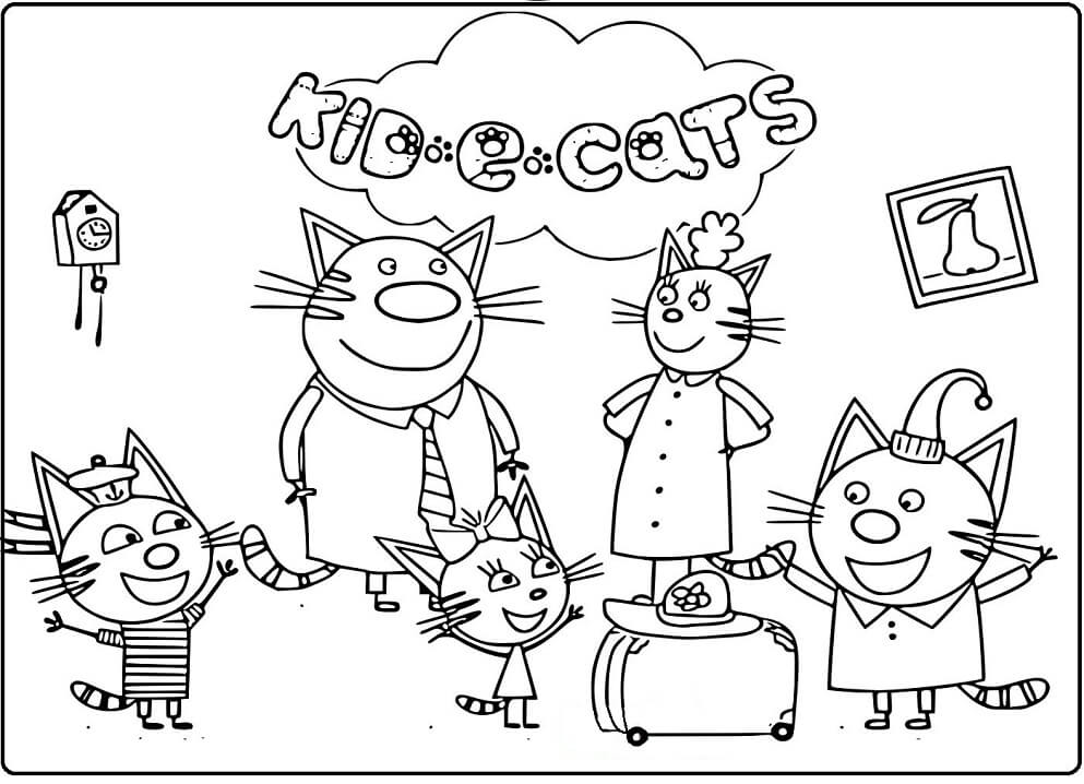 Раскраска Раскраски Три кота