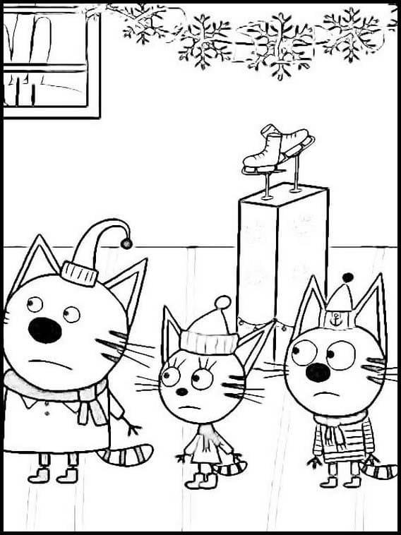 Раскраска Три кота 9