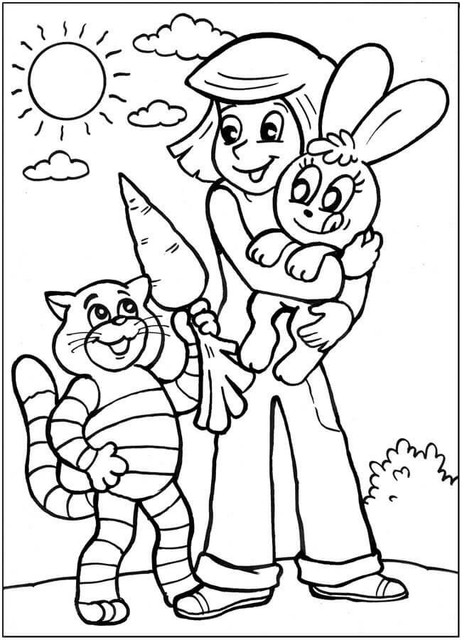 Раскраска Раскраски Трое из Простоквашино