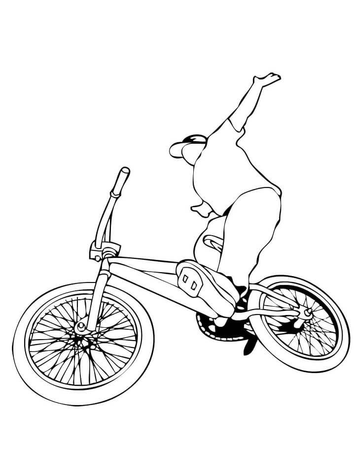 Раскраска Трюки на велосипеде BMX
