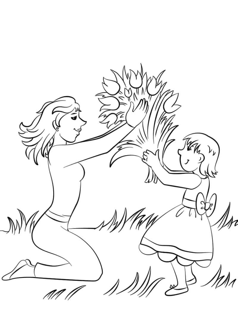 Раскраска Цветок для мамы 1
