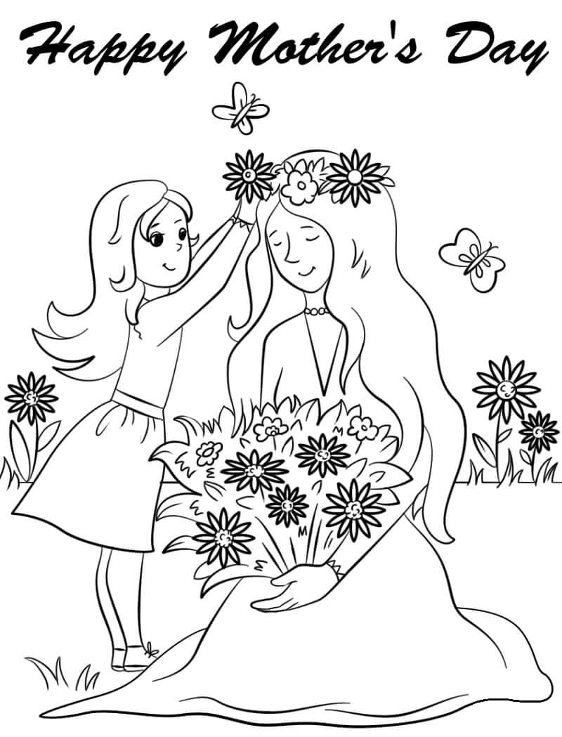 Раскраска Цветок для мамы 2