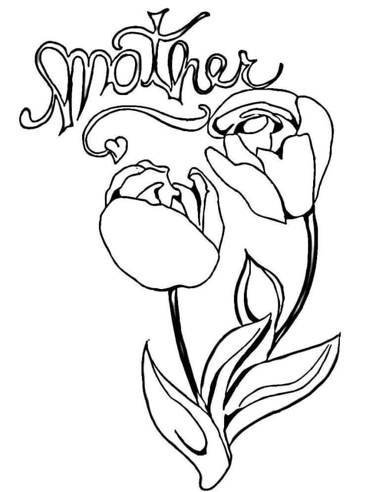 Раскраска тюльпаны для мамы
