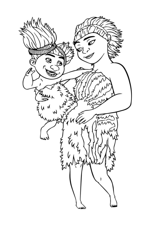 Раскраска Угга и Сэнди из Крудс