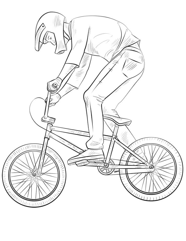 Раскраска Велогонщик BMX