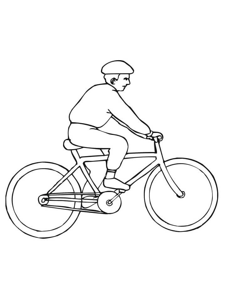 Раскраска Велосипедист 1