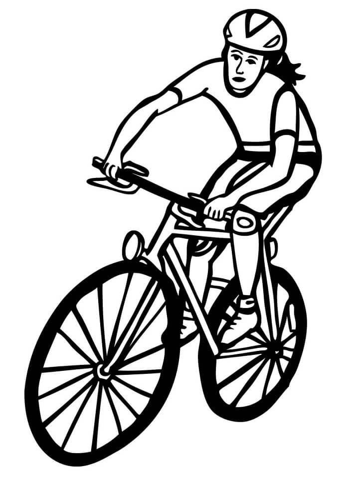 Раскраска Велосипедистка