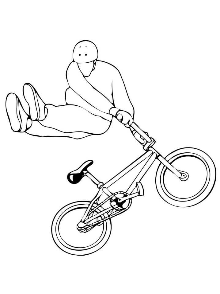 """Раскраска Велосипедный трюк Bmx """"тейлвип"""""""