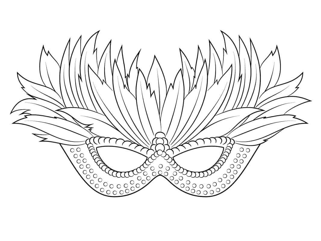 Раскраска Венецианская маска Марди Гра