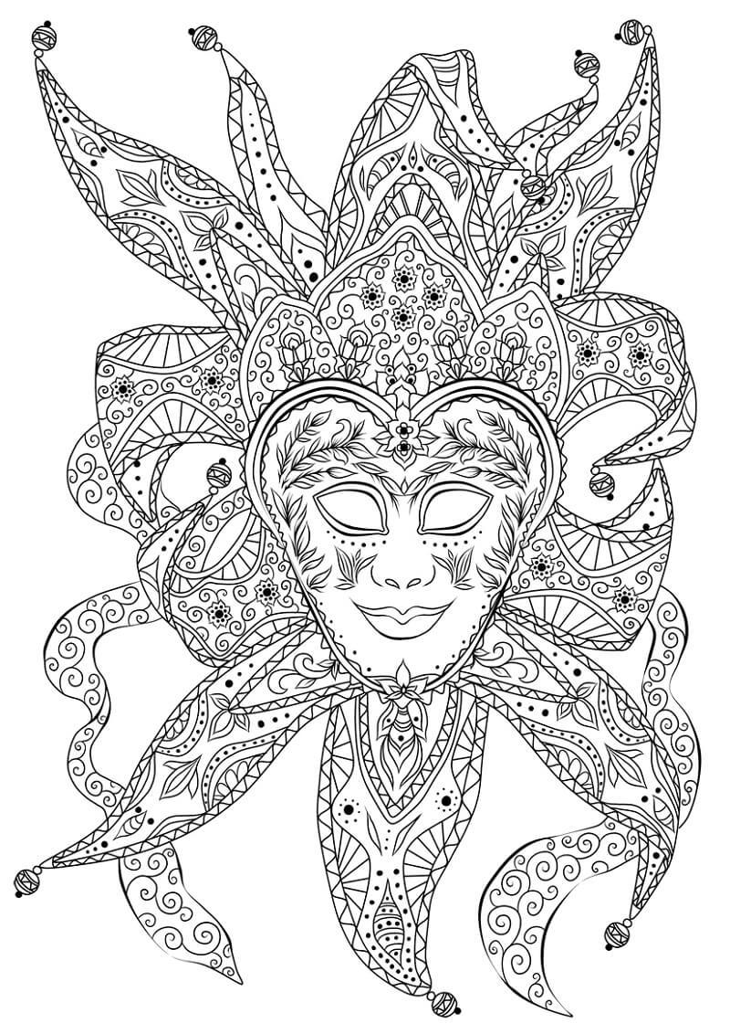 Раскраска Венецианская маска шута