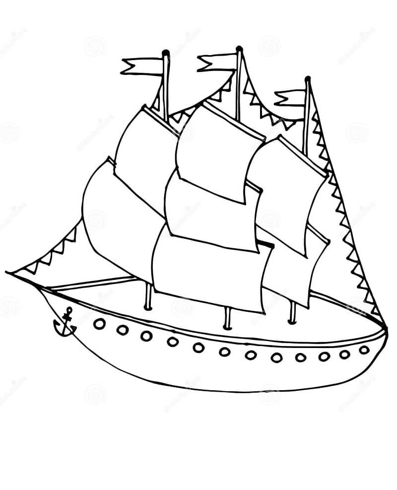 Раскраска винтажный корабль 1