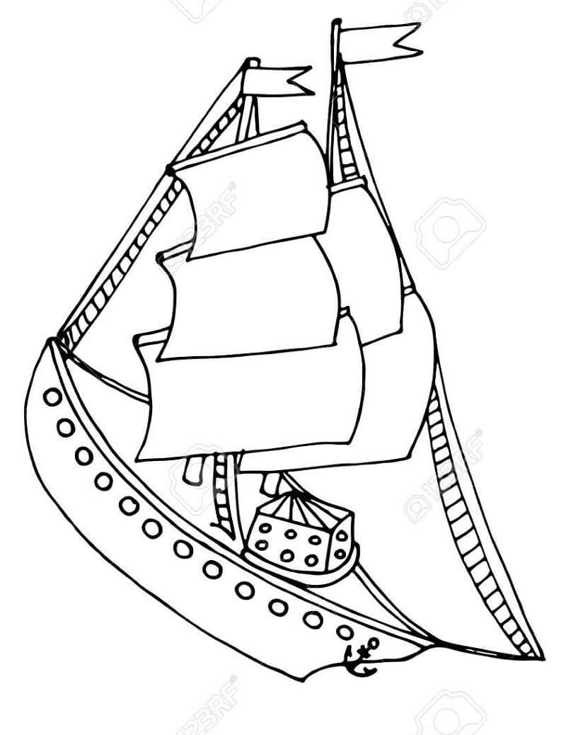 Раскраска винтажный корабль