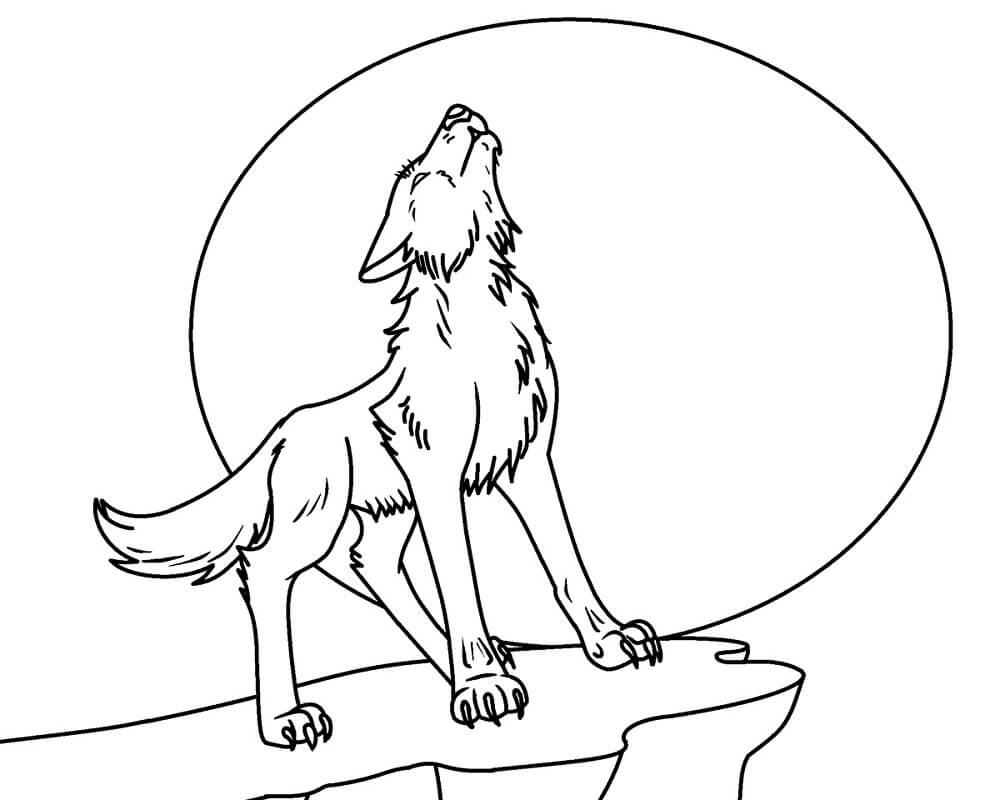 Раскраска Воющий волк 1