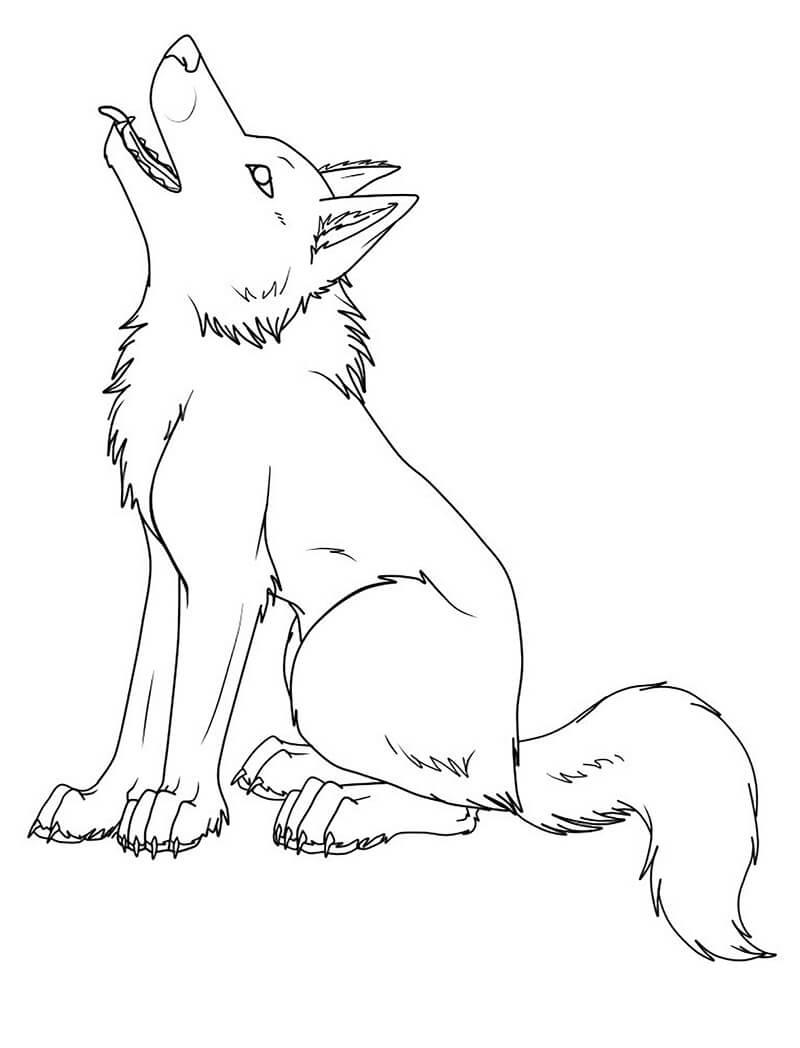 Раскраска Воющий волк