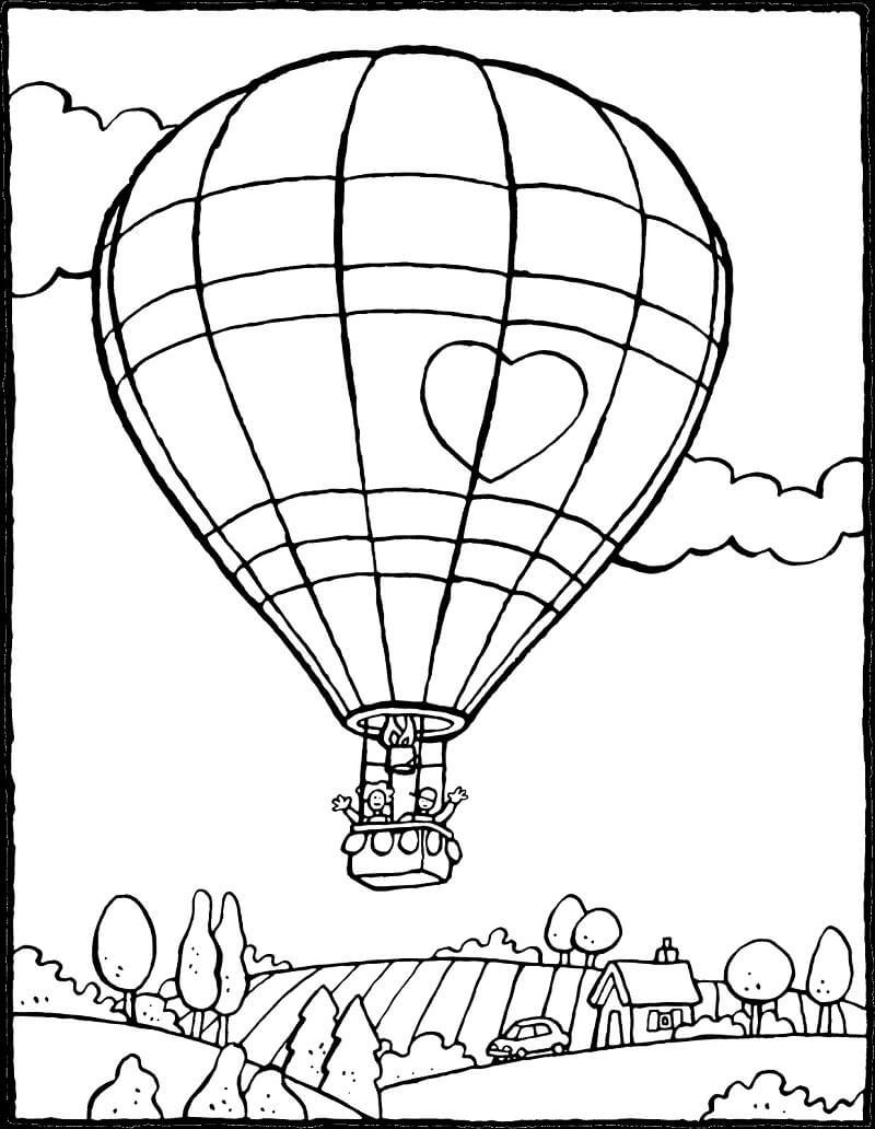 Раскраска воздушный шар 5