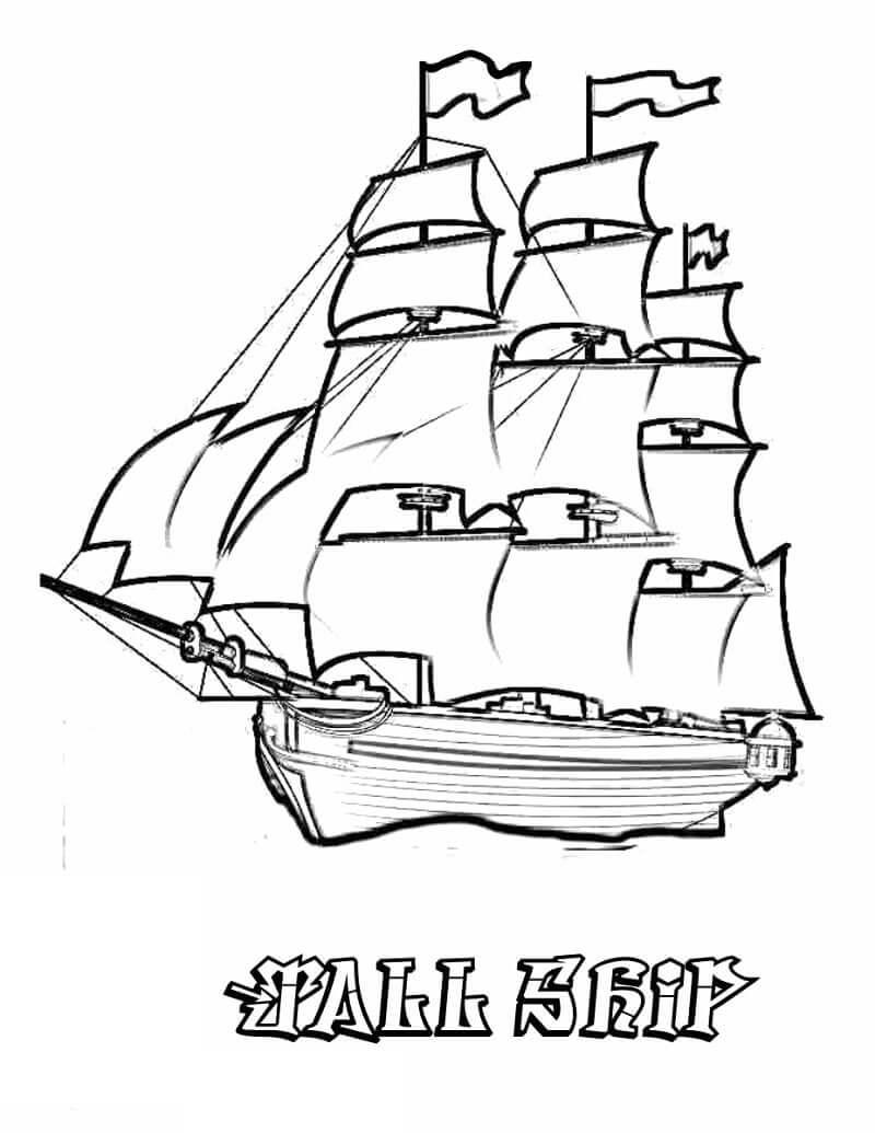 Раскраска высокий корабль
