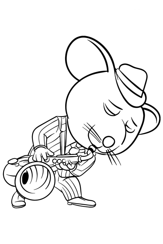 Раскраска Выступление мышонка Майка