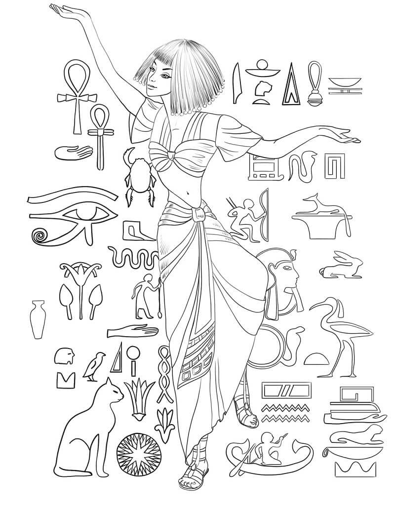 Раскраска Египетская женщина 1