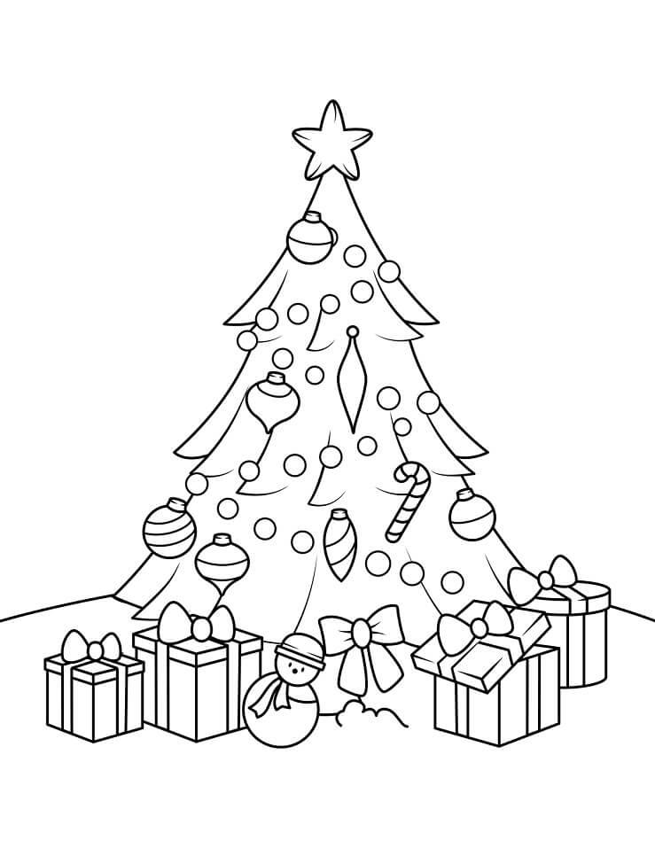 Раскраска Елка и Подарки 2