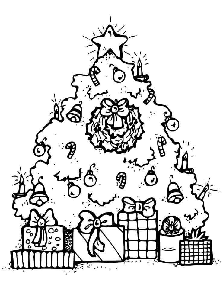 Раскраска Елка и Подарки 4